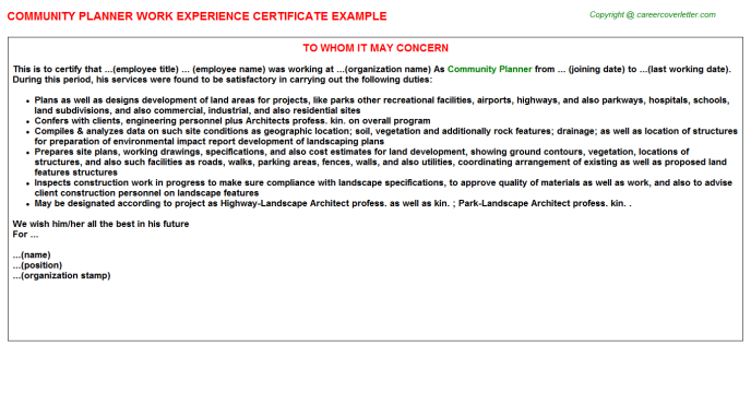 community planner experience letter template