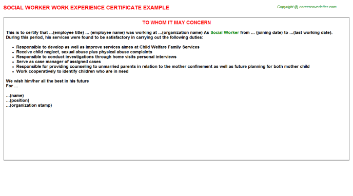 Social Worker Experience Letter Template