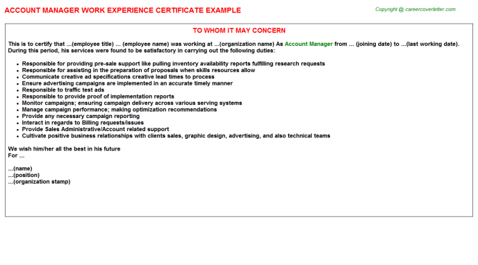 Account Manager Experience Letter Template