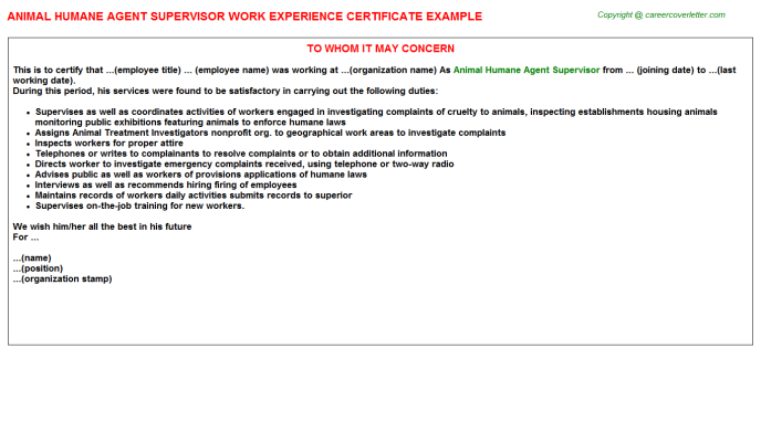 animal humane agent supervisor experience letter template