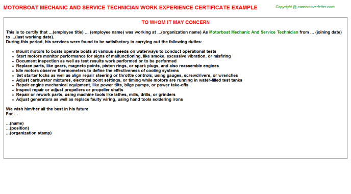 Motorboat Mechanic And Service Technician Experience Letter Template