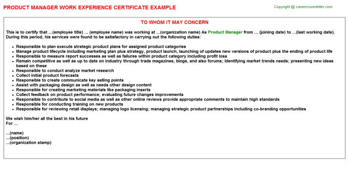 Product Manager Work Experience Certificate Template