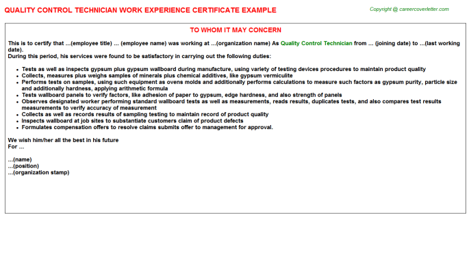 Quality Control Technician Career Samples