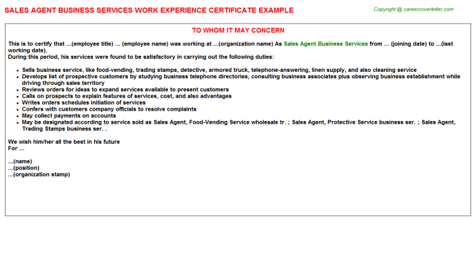 Sales Agent Business Services Work Experience Certificate Template