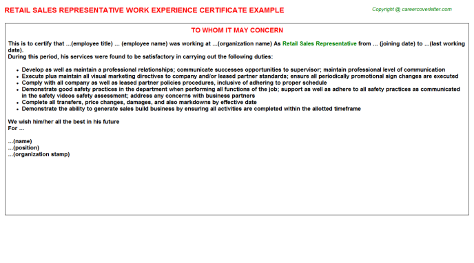 Retail Sales Representative Experience Letter Template