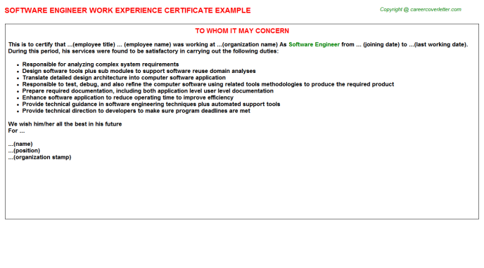 Software Engineer Experience Letter Template