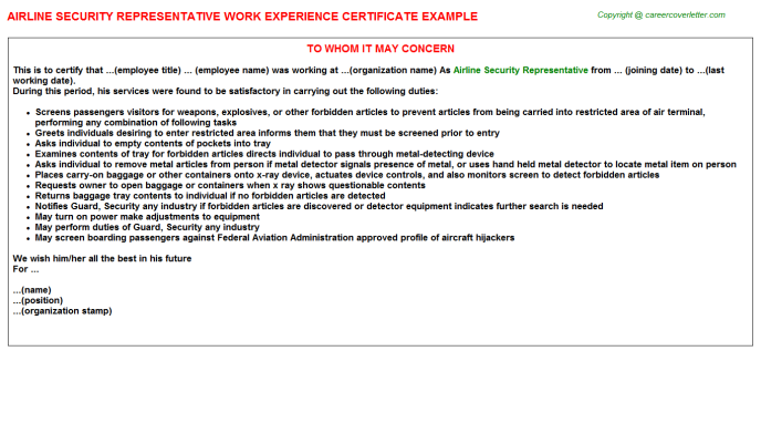 Airline Security Representative Experience Letter Template