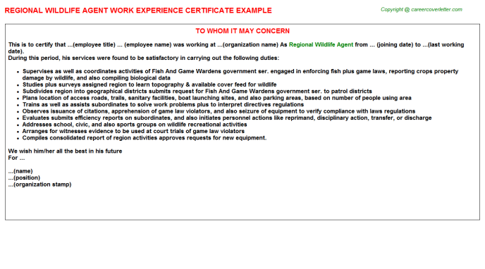 regional wildlife agent experience letter template