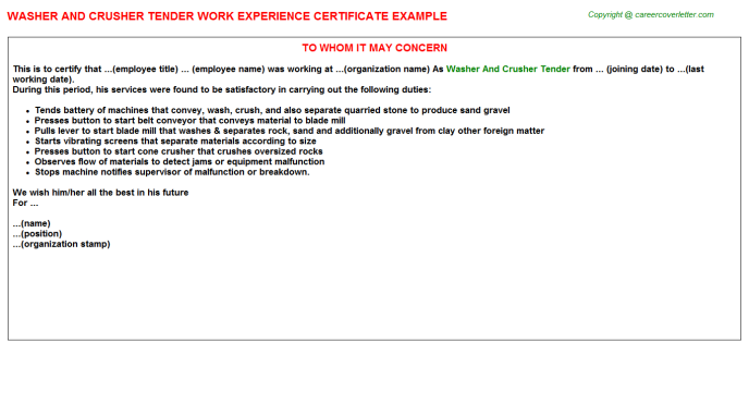 Washer and crusher Tender Experience Letter Template