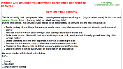 Washer and crusher Tender Work Experience Letter Template