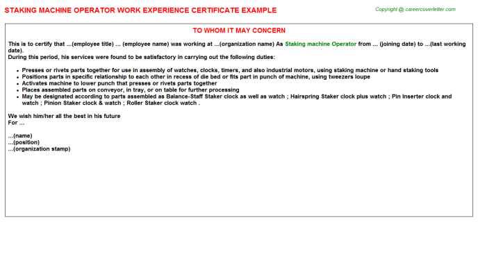 staking machine operator experience letter template