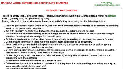 Barista Work Experience Letter Template