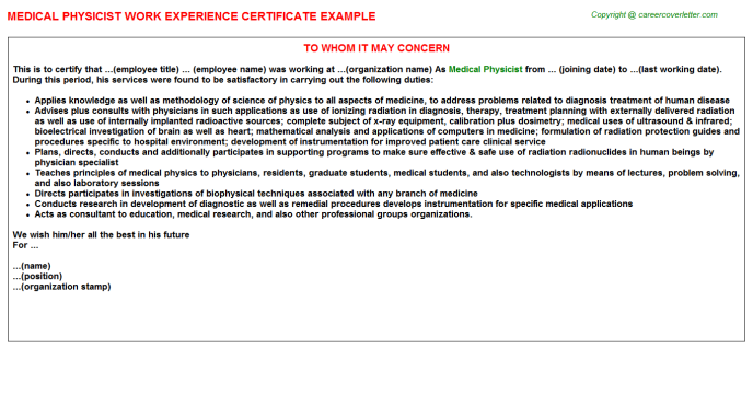 medical physicist work experience letter