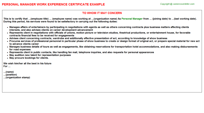 personal manager experience letter template