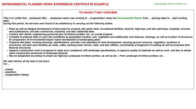Environmental Planner Work Experience Letter Template