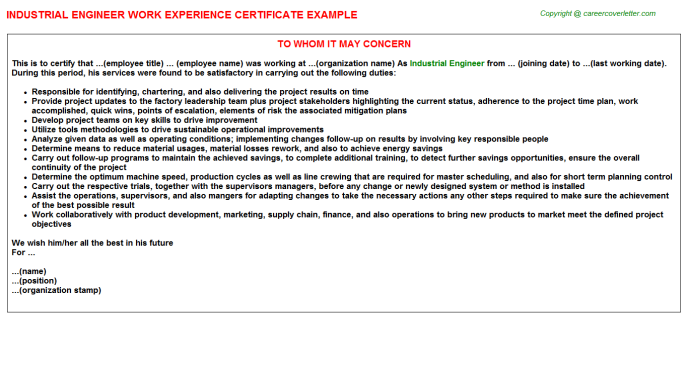 Industrial Engineer Job Experience Letter Template
