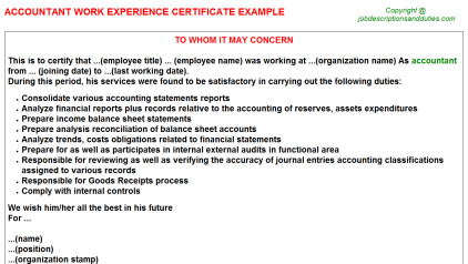 Accountant Work Experience Letter Template
