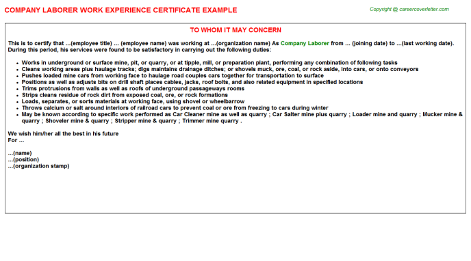 Company Laborer Work Experience Letter
