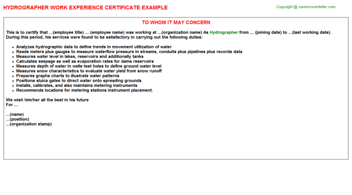 Hydrographer Experience Letter Template