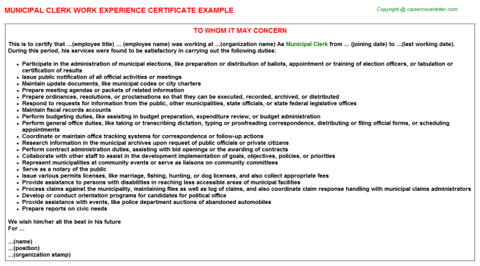 Municipal Clerk Experience Letter Template
