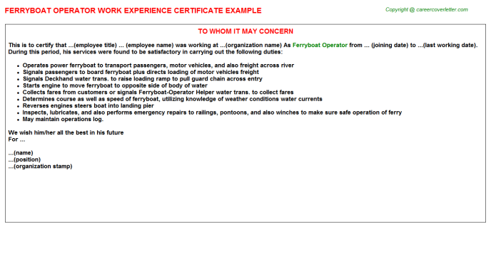 Ferryboat Operator Experience Letter Template
