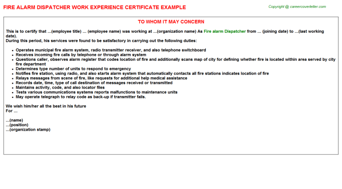 fire alarm dispatcher experience letter template