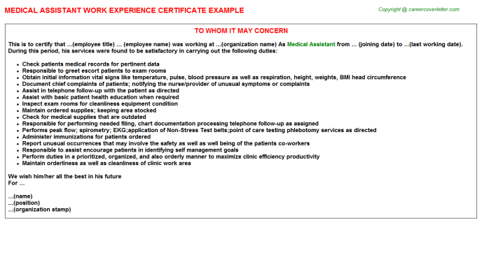Medical Assistant Experience Letter Template