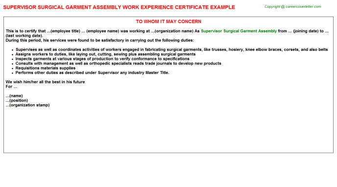 Supervisor Surgical Garment Assembly Experience Certificate Template