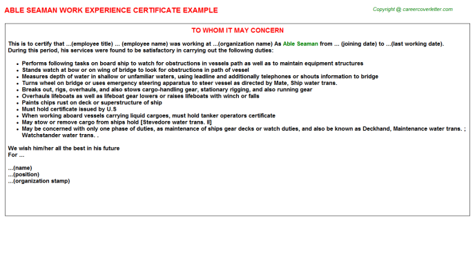 able seaman experience letter template