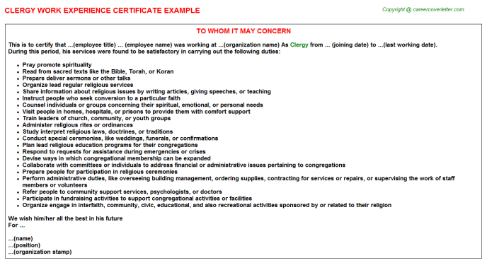 Clergy Work Experience Certificate Template