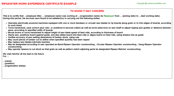 Ripsawyer Work Experience Certificate Template