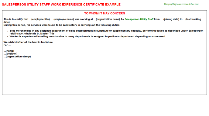 salesperson utility staff experience letter template