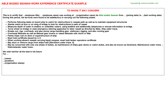 able bodied seaman experience letter template