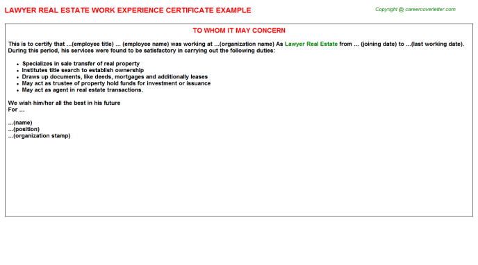 Lawyer Real Estate Work Experience Certificate Template