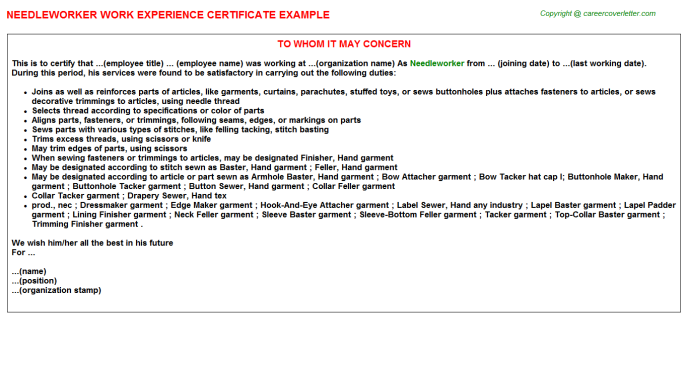 Needleworker Experience Letter Template