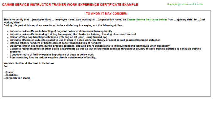 canine service instructor trainer experience letter template