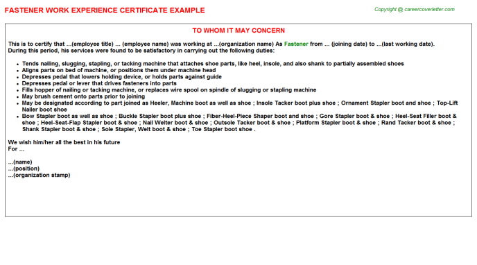 Fastener Experience Letter Template