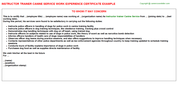 instructor trainer canine service experience letter template