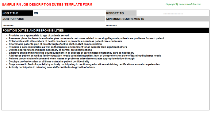 RN Job Description & Duties Template