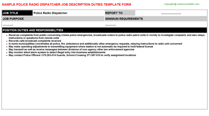 Police Radio Dispatcher Job Description Template