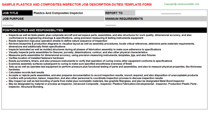 Plastics And Composites Inspector Job Description Template