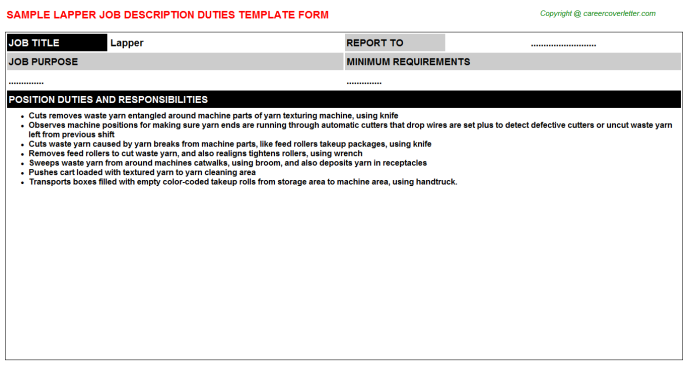 Lapper Job Description Template