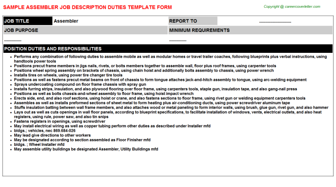 Assembler Job Description Template