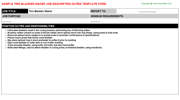 Tire bladder Maker Job Description Template