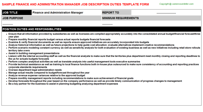 finance and administration manager job description template