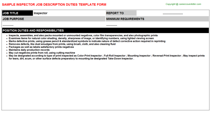 Inspector Job Description Template