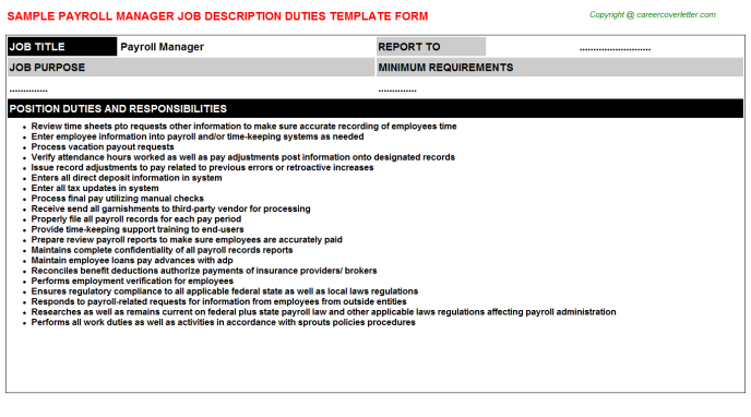Payroll Manager Job Description Template