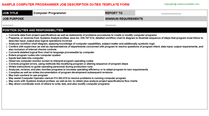 Computer Programmer Job Description Template
