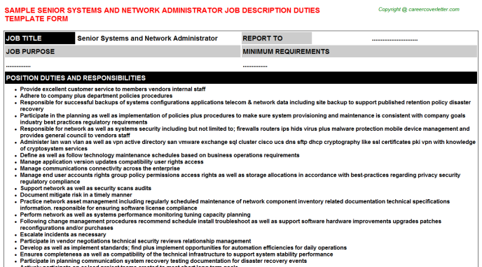 senior systems and network administrator job description template
