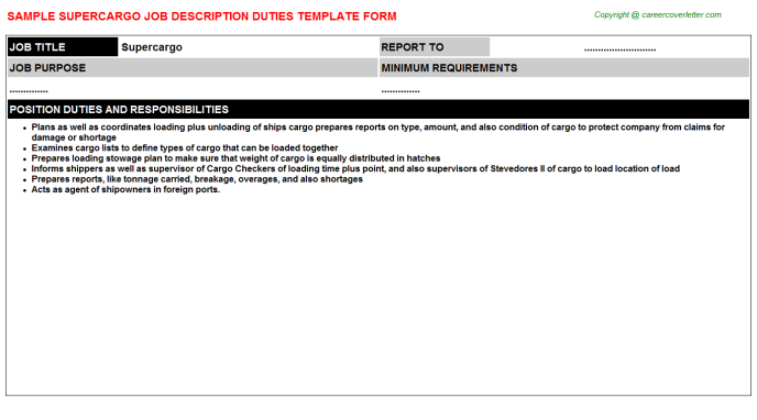 Supercargo Job Description Template